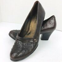Born Crown Brown Leather Size 7.5 Studs Stitched Block Heel W6452 Strap Shoe