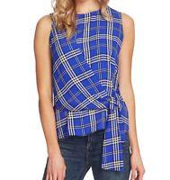 Vince Camuto Womens Blouse Electric Blue Size Medium M Tie Front Plaid $79 399