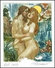 David Bekker 1994 Exlibris C4 Erotic Erotik Nude Nudo Woman Bird Flowers 510
