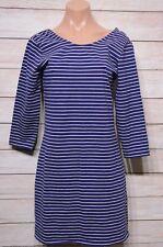 ELEMENT Dress Sz 10 medium blue white stripe tunic stretch knit dress