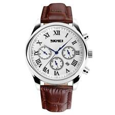 Roman Numerals Genuine Leather Strap Skmei Luxury Men's Watch Polished Silver