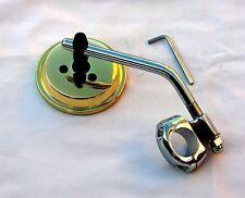 "Brass Plated 3 Inch Mirror wih Chrome Stem & Clamp for 1"" & 7/8"" Bars; Custom"