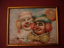 William Moninet Original Signed Clowns Oil Painting 12 x 16 framed