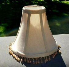 "Lamp Shade Tan Fabric Shade Clip On Dangling Amber Beads 6"" Tall x 7"" Wide"