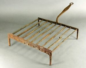 = Antique 1750 -1800 EARLY GRIDIRON Wrought Iron Open Fire Roaster Grill Rack #1
