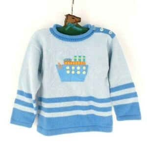 Hanna Andersson Pullover Sweater Boys 90 US 3 Boat Blue Cotton New