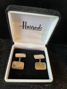 Stunning Vintage Solid 9ct Gold Men's Cufflinks Engraved Hallmarked 9.375 O.C