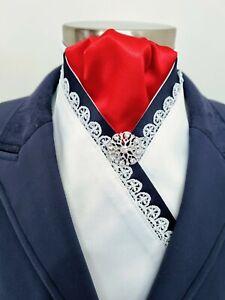 ERA  Ellie  White Stock Tie - Navy &  Red - Lace Trim &  Silver Brooch