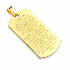 78a5dea093e PENDENTIF POUR HOMME OR PLAQUE MILITAIRE BIBLE PRIERE NOTRE PERE 1 CHAINE  6789