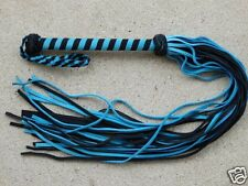 NEW TURQUOISE Suede Leather Flogger Whip - Lightweight Horse Training Tool - Cat