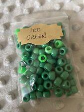 100 Green Mixed Pony Beads