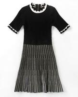AUTH Ted Baker CARMANN Knitted Fit & Flare Skater Dress BLACK 0-5