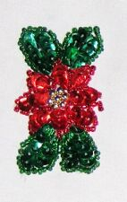 "Decorative Fancy Craft 2"" Bead Sequin Red Green Flower Patch"