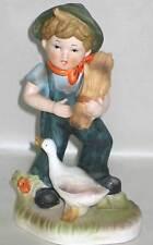 "Farm Boy Harvest Wheat Sheaf w Goose 8"" Ceramic Flambro Figurine vintage Free Sh"