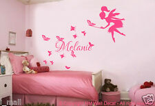 CUSTOMISE NAME & FAIRY; BUTTERFLIES Kids Removable Wall Decal for Girls Room