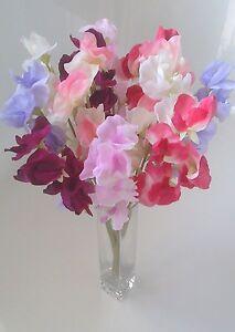 Sweet Peas x 12 Stems Home Garden Decor Top Quality Faux Flowers