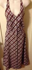 Cacharel Retro PinUp Rust & White Plaid Long Halter Dress Sz 2