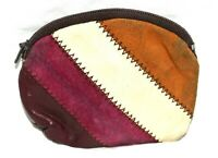 Vintage Burgundy Brown Green & White Striped Suede Leather Zipper Coin Purse HK