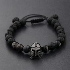 Men Black Spartan Helmet Beaded Natural Stone Adjustable Macrame Bracelets Gift