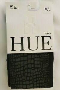 Hue Women's Luster Croc-Embossed Tights Black M/L
