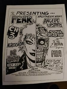 1980s vintage Punk Flyer FEAR CH3 Angelic Upstarts Social Distortion