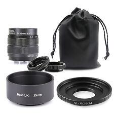 35mm Fujian F1.7 CCTV TV cine  lens for Canon EF-M EOS M Mirrorless Camera & HOO