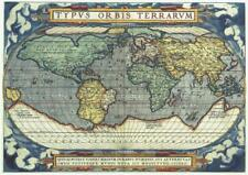 Map of the World A Ortelius Reproduction Map c1570 A3 Size Parchment Paper.
