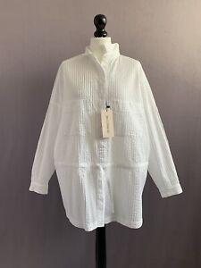 "YACCO MARICARD Stunning White Cotton Pin Tuck Tunic Top NEW TAGS OSFA 54"" Chest"