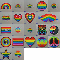 Rainbow Iron On/ Sew On Embroidered Cloth Patch Badge Appliqué gay lesbian pride