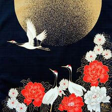 Japanese Cotton Furoshiki Cloth Crane Birds & Golden Moon Black TB6