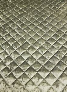 LUXURY QUALITY QUILTED WADDING UPHOLSTERY FABRIC STITCHED GREY CRUSHED VELVET
