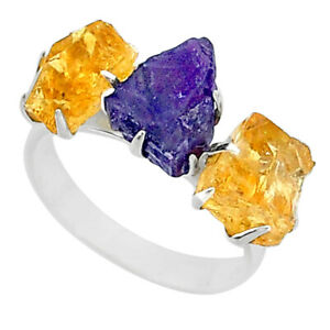GEMEXI1973 9.86cts Natural Amethyst 3 Stone Citrine Raw Silver Ring Size 8 T7125