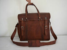 "18"" Real Leather Duffle Holdall Bag Travel Luggage Handbag Briefcase Messenger"