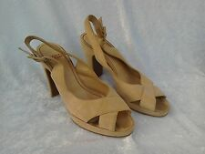 VINTAGE CHARLES JOURDAN STONE SUEDE PLATFORM SANDALS...US 6.5..UK 4.5