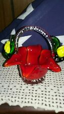 Vintage Murano Art Glass Red Flower Shaped Basket w/Applied Yellow Rose Buds