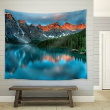 Reflection of Mountains and Pine Trees on a Clear Lake - Fabric Tapestry - 68x80