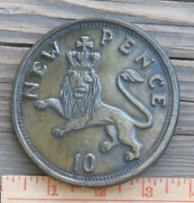 "Rare ~ 1970's J.S.S. Elche ""10 New Pence"" Belt Buckle Spain 3 5/8"" ~ Ships Free"