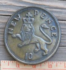 "RARE ~ 1970's J.S.S. ELCHE ""10 New Pence"" Belt Buckle SPAIN 3 5/8"" ~ SHIPS FREE"