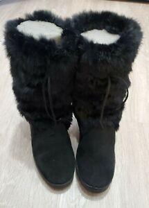 clark rabbit fur boots 904051 Size 8 black  Womens