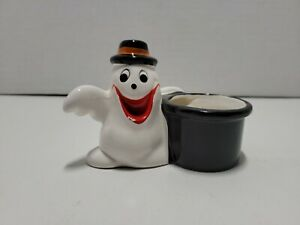 """Vintage Halloween Happy Ghost Decoration Candle Holder Ceramic White 3.5"""""""
