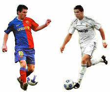 """Set of 2 Huge XXL Decals Cristiano Ronaldo and Lionel Messi Wall Stickers 33"""""""