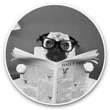 2 x Vinyl Stickers 20cm (bw) - Funny Pug Puppy Dog Reading Paper  #36692