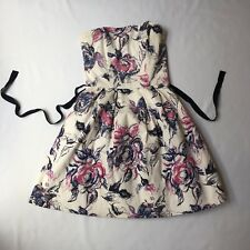 Forever New Floral Strapless Dress, Fit and Flare, Waist Ribbon, Size  6
