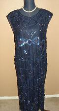 JAKELIN Designs Navy Blue Sequins Beaded Lace Sheath Evening Dress Plus Size 3X