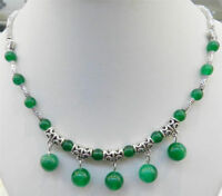 """Lovely 6-10mm Natural Green Jade Round Beads Pendant Tibet Silver Necklace 18"""""""