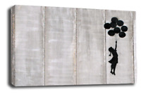 Banksy Canvas Wall Art Black White Grey Girl Balloon Floating Abstract Picture