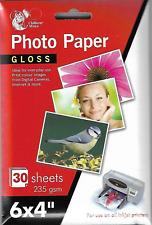 For Injekt printers 6 x 4  Gloss Printer Photo Paper 235gsm 30 Sheets .