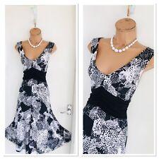Beautiful JOSEPH RIBKOFF Black White Floaty Summer Jersey Dress Uk 14