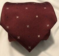 Louis Vuitton Mens Tie Made In Italy 100% Silk  4 In Cranberry