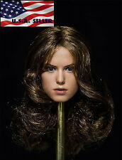 1/6 Daisy Ridley Star Wars Rey Head Sculpt BROWN HAIR For Hot Toys Phicen Female